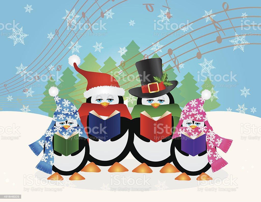 ペンギン Carolers 雪のクリスマスのベクトルイラスト風景 お祝いの