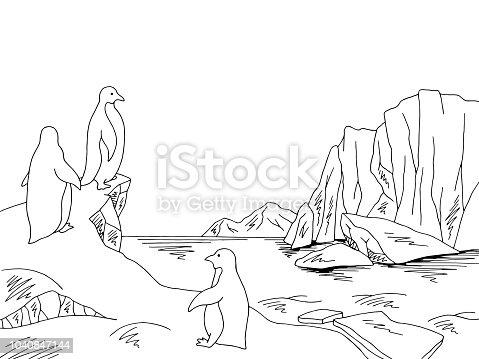 Penguins in Antarctica at the iceberg graphic black white sketch landscape illustration vector