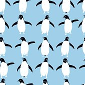 Hand drawn penguins. Vector  seamless pattern.