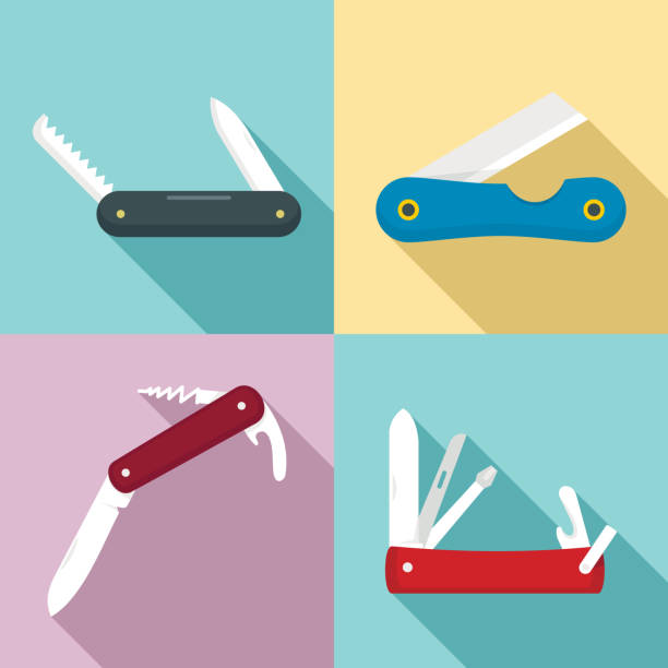 Penknife icons set, flat style Penknife icons set. Flat set of penknife vector icons for web design switchblade stock illustrations