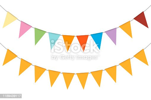 Pennant banner garland, vector illustration. Hanging multicolor triangle flags. Colorful festival party bunting.