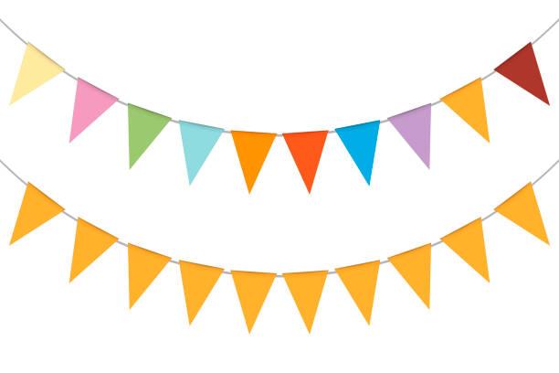 wianek na sztandar, ilustracja wektorowa. wiszące wielokolorowe flagi trójkąta. kolorowe festiwalowe bunting - impreza stock illustrations