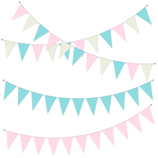 Pennant banner garland, vector illustration. Hanging triangle flags pastel color. Holiday party bunting Pennant banner garland, vector illustration. Hanging triangle flags pastel color. Holiday party bunting. baby shower stock illustrations