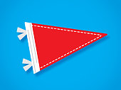Vector illustration of a red pennant flag against a blue background in flat style.