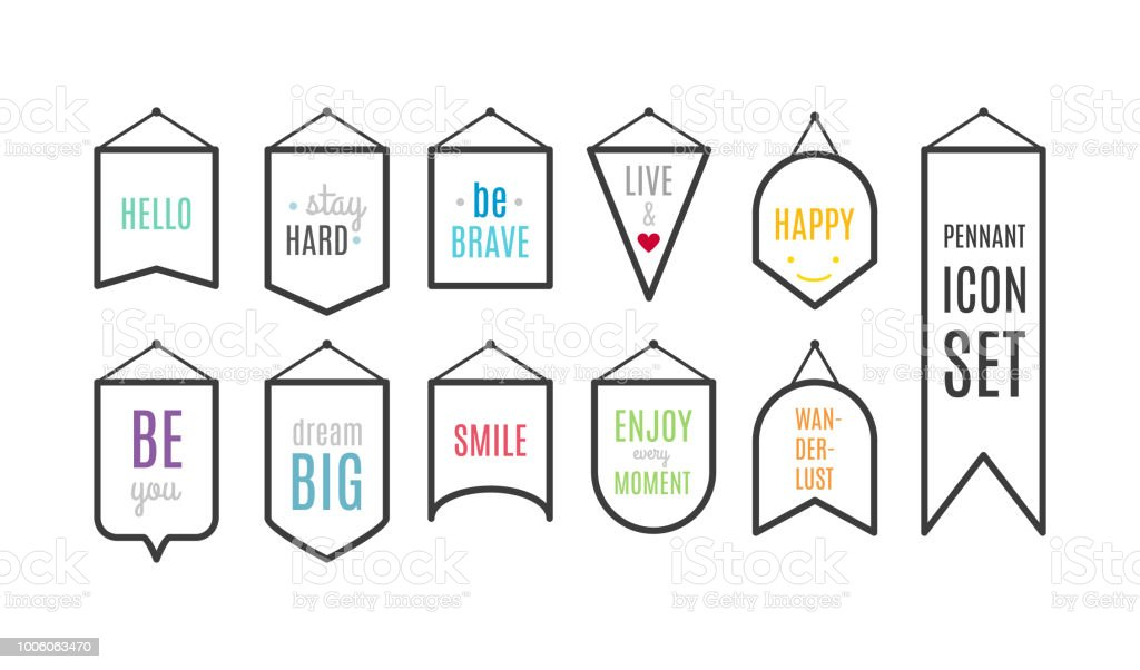 Pennant Icon Set With Motivational Quotes Vector Illustration Flat
