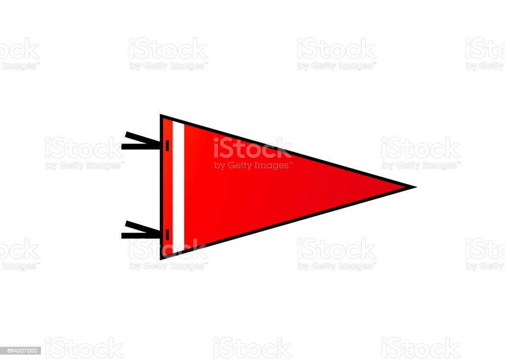 Pennant on white background. Red flag with white strip in flat style vector art illustration