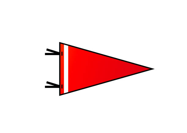 Pennant on white background. Red flag with white strip in flat style Pennant isolated on white background. Red blank flag with white strip in flat simple style. Vector illustration. pennant stock illustrations