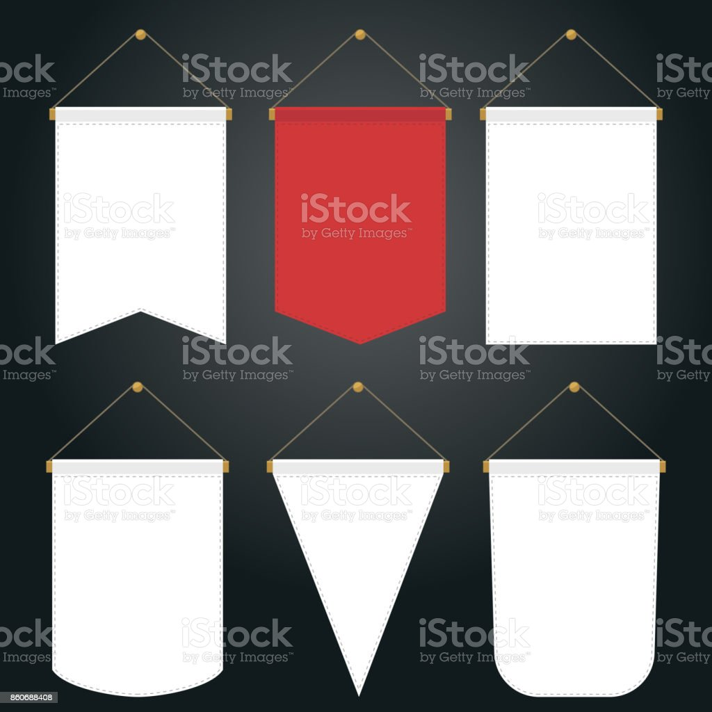 Pennant Template Hanging on Wall, vector vector art illustration