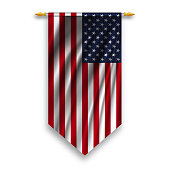Pennant USA flag on silver rod on white background. Vector illustration.