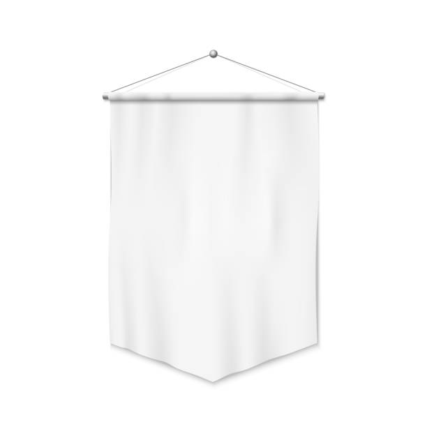 Pennant White pennant template. Realistic empty blank pennant. Isolated vector illustration on white background. pennant stock illustrations