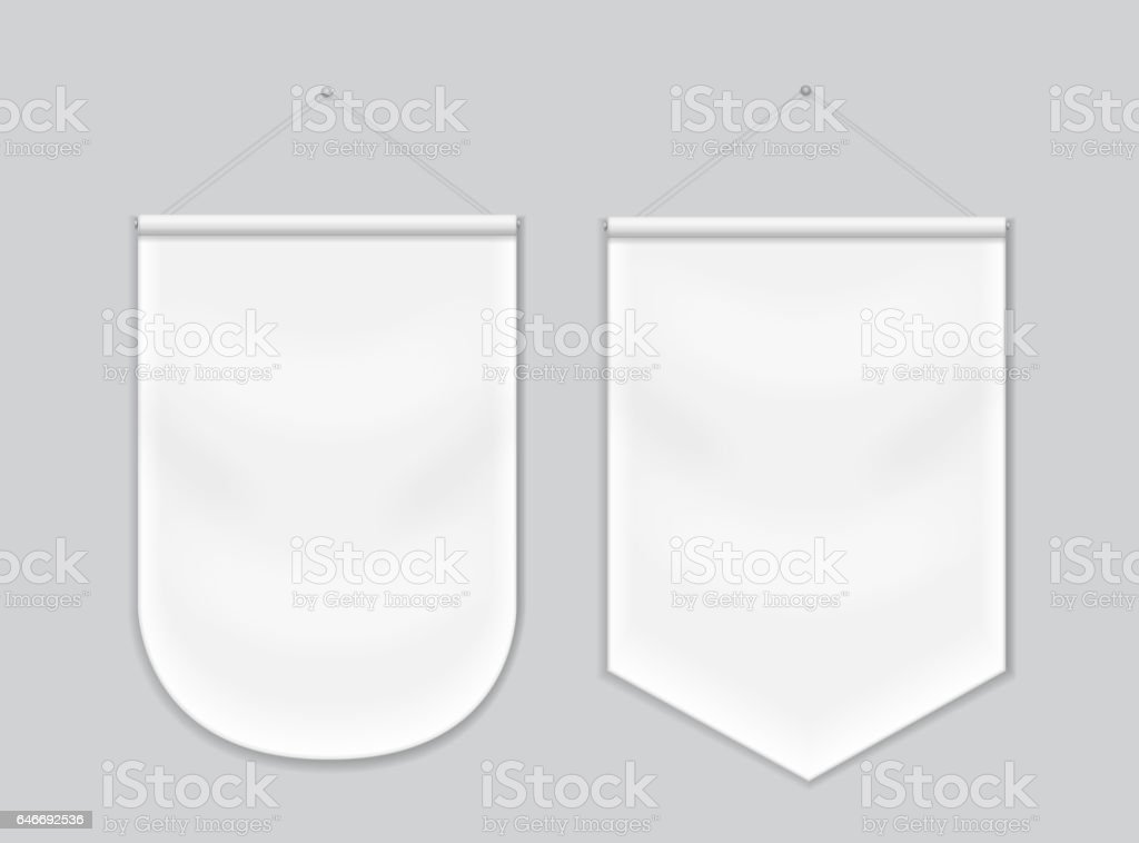 Pennant white blank hanging on the wall, template mockup vector art illustration