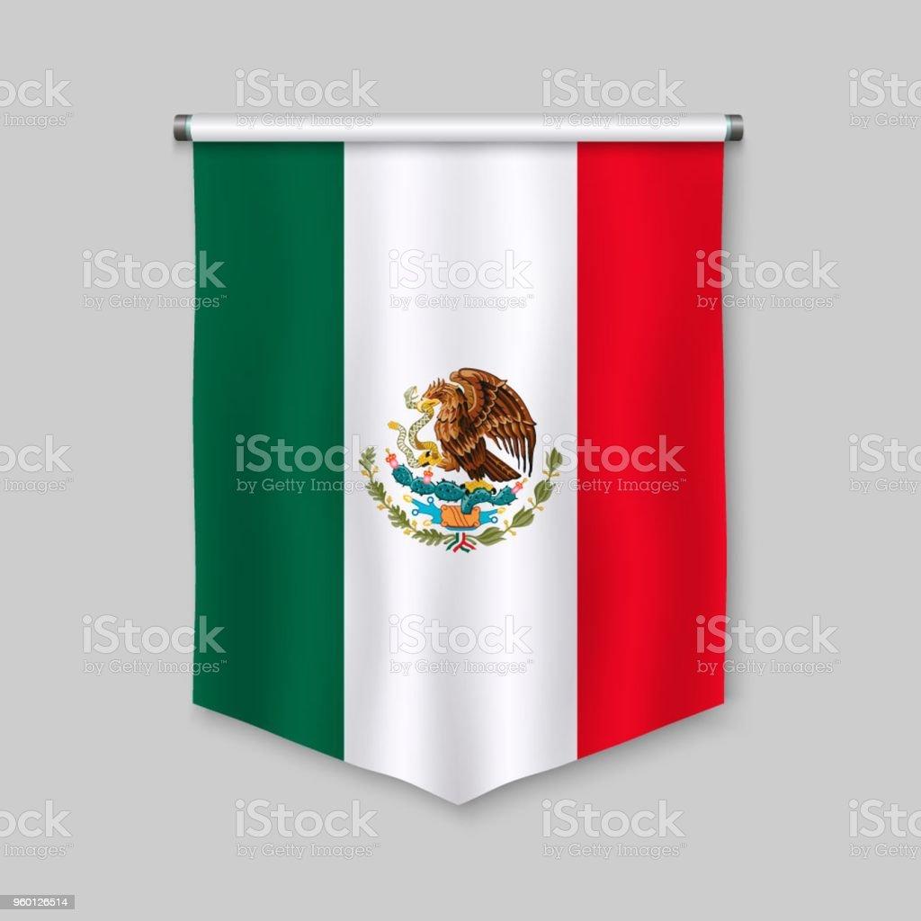 Banderín con bandera - ilustración de arte vectorial
