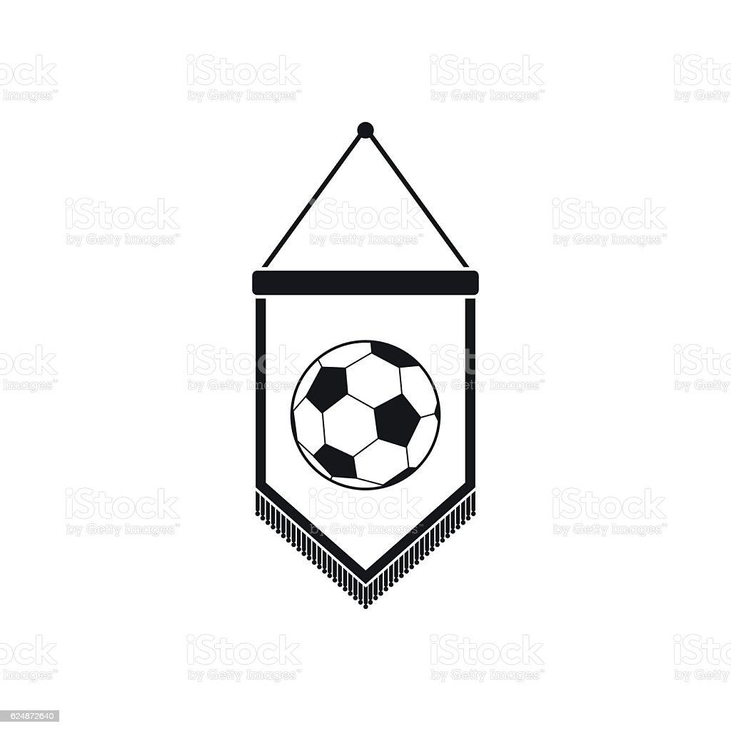 Pennant with soccer ball icon - ilustración de arte vectorial