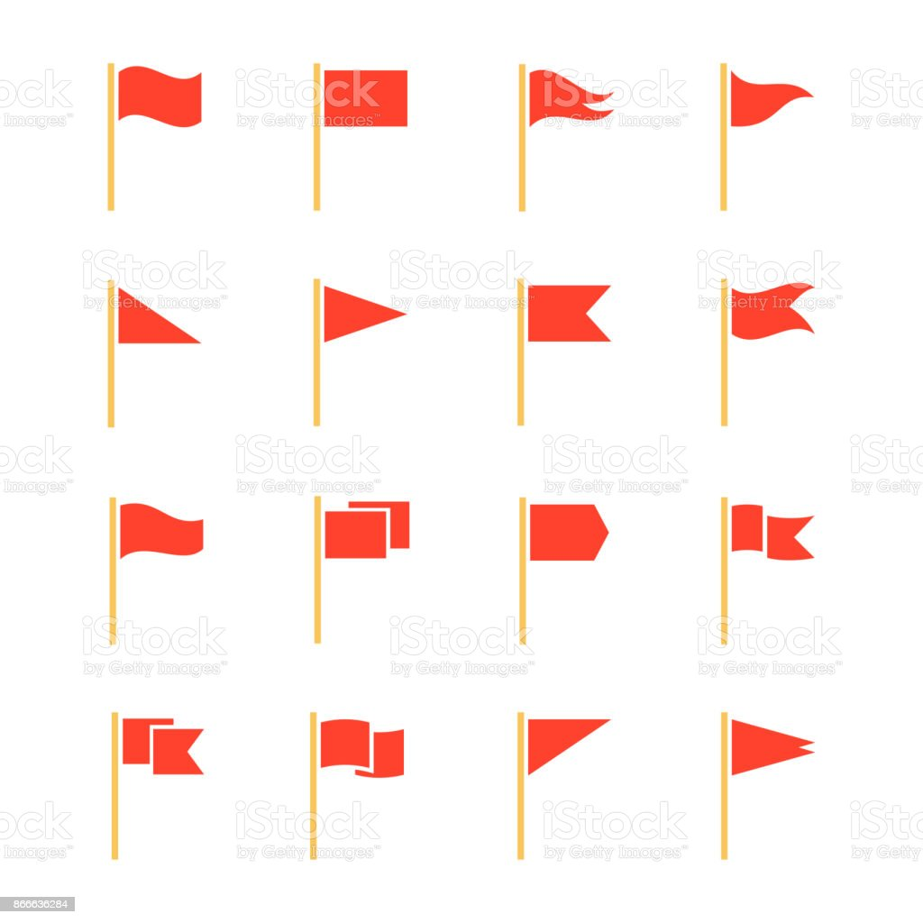 Pennants and flags set vector art illustration