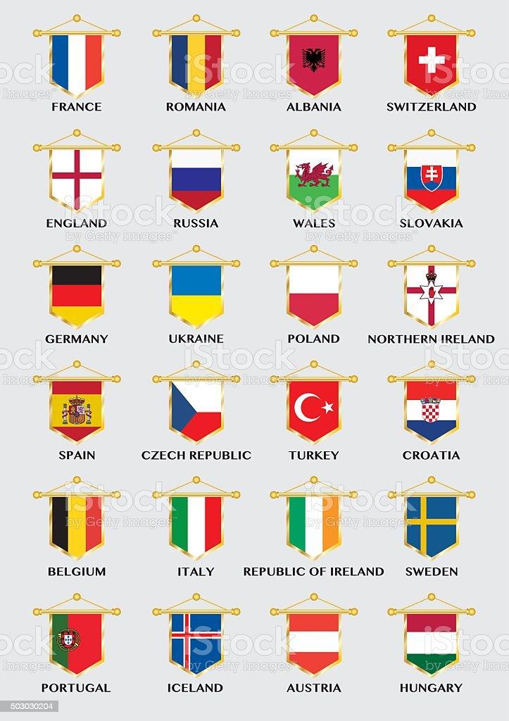 pennants con banderas de países de campeonato europeo de fútbol - ilustración de arte vectorial