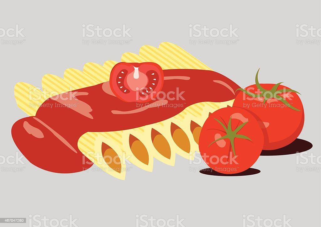 Penne Pasta with Bolognese Sauce and Tomatoes. Vector Illustration vector art illustration