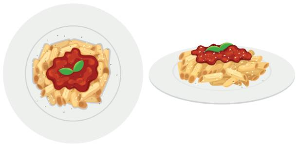 Penne pasta with tomato sauce Penne pasta with tomato sauce illustration penne stock illustrations