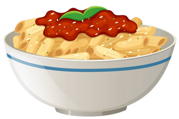 Penne Tomato Sauce on White Background Penne Tomato Sauce on White Background illustration penne stock illustrations