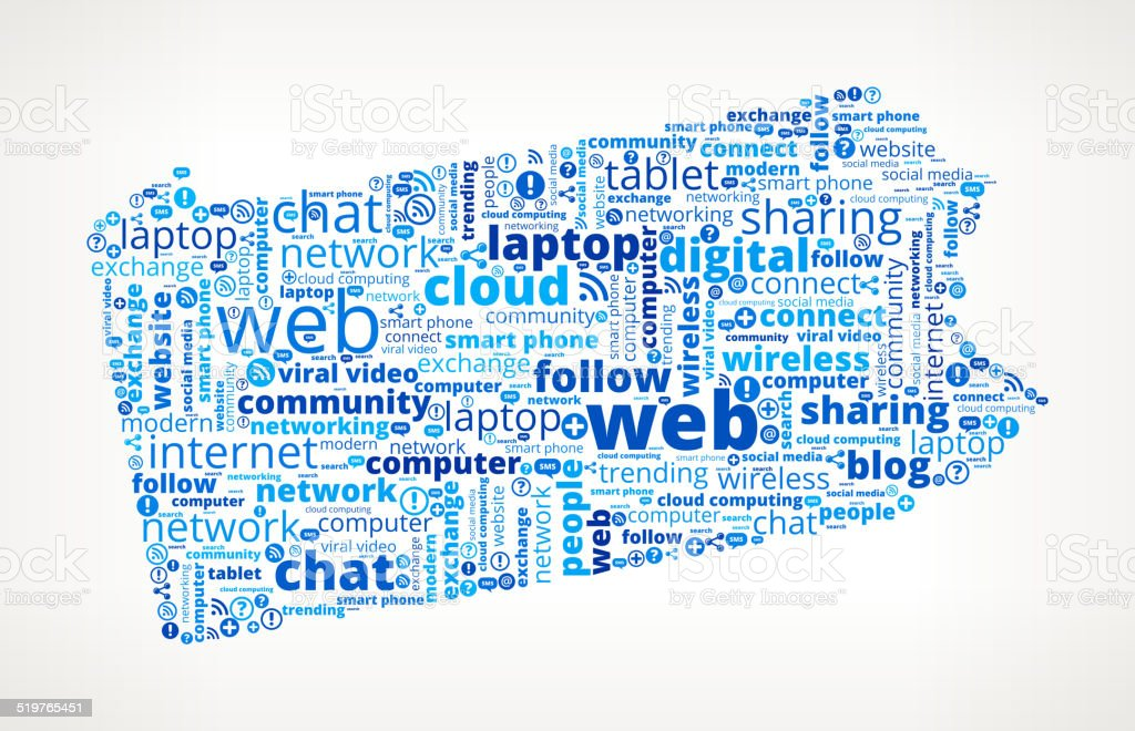 Pennsylvani on Modern Communication and Technology Word Cloud vector art illustration
