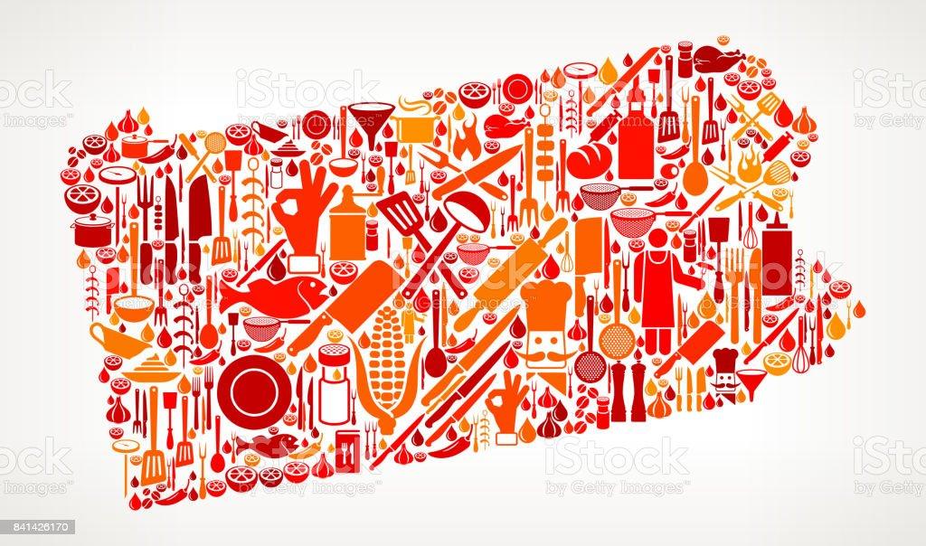ペンシルベニア州料理、食べ物アイコン パターン ベクトル ベクターアートイラスト