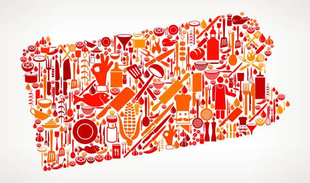 ペンシルベニア州料理、食べ物アイコン パターン ベクトル - 高級料理点のイラスト素材/クリップアート素材/マンガ素材/アイコン素材