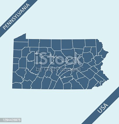 Highly detailed downloadable and printable map of Pennsylvania county state of United States of America for web banner, mobile, smartphone, iPhone, iPad applications and educational use. The map is accurately prepared by a map expert.