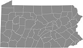 Pennsylvania county map vector outline gray background. Map of Pennsylvania state of United States of America with counties borders