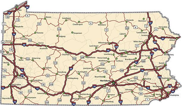 Pennsylvania Highway Map (vector) vector art illustration
