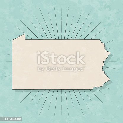 Map of Pennsylvania in a trendy vintage style. Beautiful retro illustration with old textured paper and light rays in the background (colors used: blue, green, beige and black for the outline). Vector Illustration (EPS10, well layered and grouped). Easy to edit, manipulate, resize or colorize.