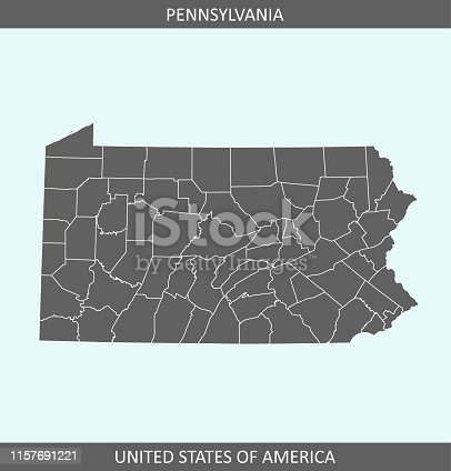 istock Pennsylvania map of counties 1157691221