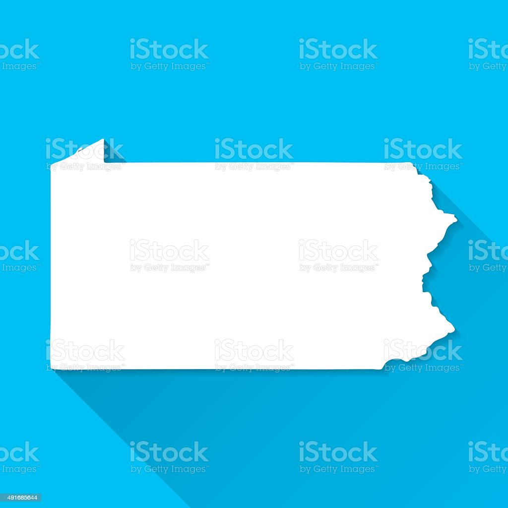 Pennsylvania Map on Blue Background, Long Shadow, Flat Design vector art illustration