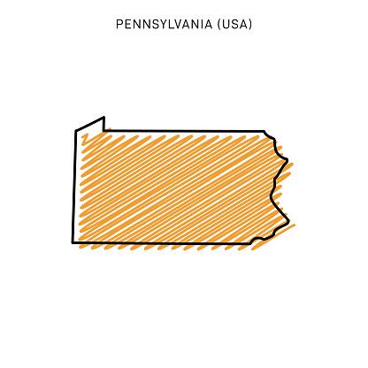 Scribble Map of Pennsylvania Vector Illustration Design Template. Vector EPS 10.