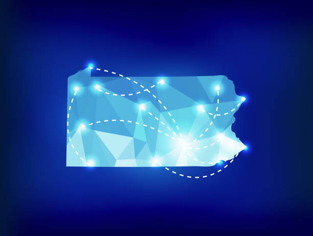 Pennsylvania state map polygonal with spot lights places vector art illustration