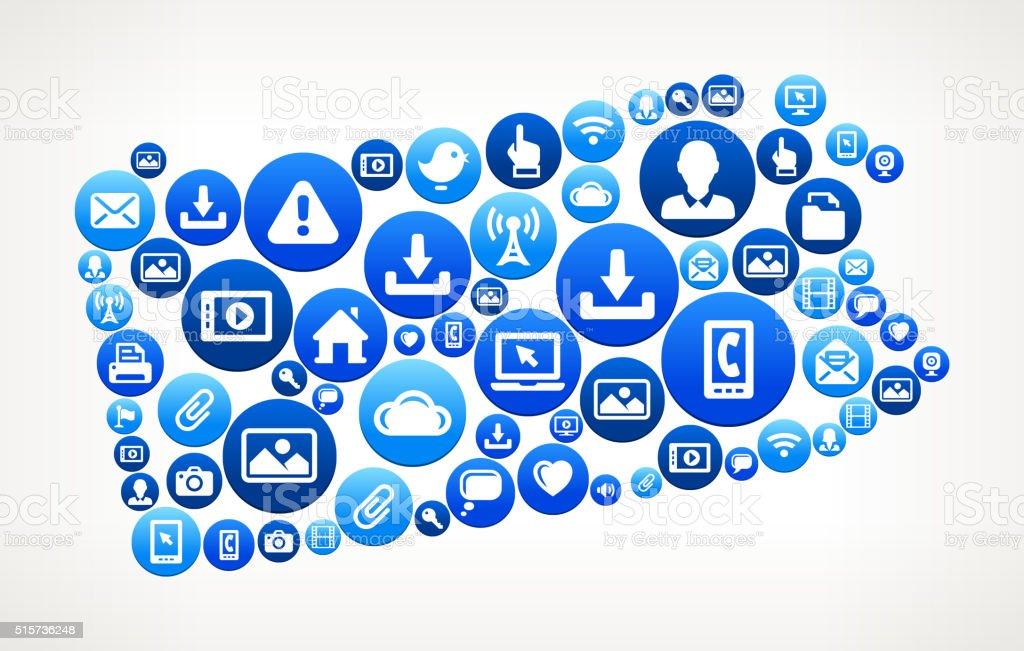 Pennsylvania Technology Internet and Media Blue Button Pattern vector art illustration