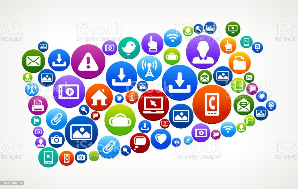 Pennsylvania Technology Internet and Web Media Icon Pattern vector art illustration
