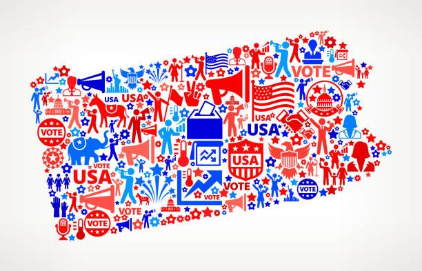пенсильвания голосования и выборы сша отечественной значок рисунком - presidential debate stock illustrations