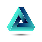 Penrose impossible triangle geometric 3D icon optical illusion vector illustration for  idea