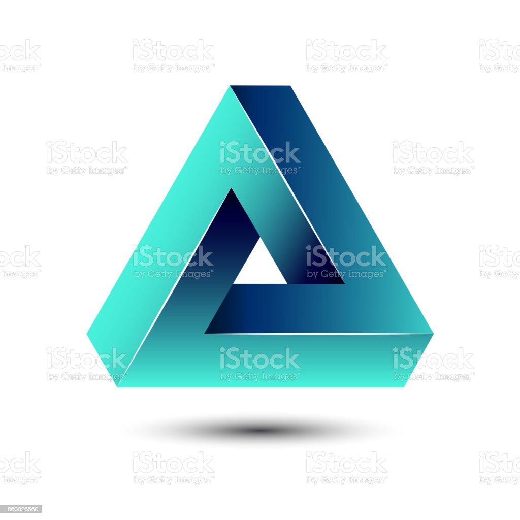 Penrose unmögliche Dreieck geometrische 3D-Symbol optische Täuschung Vektor-Illustration für die Idee – Vektorgrafik
