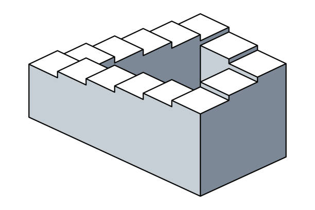 Penrose stairs, impossible staircases, optical illusion vector art illustration
