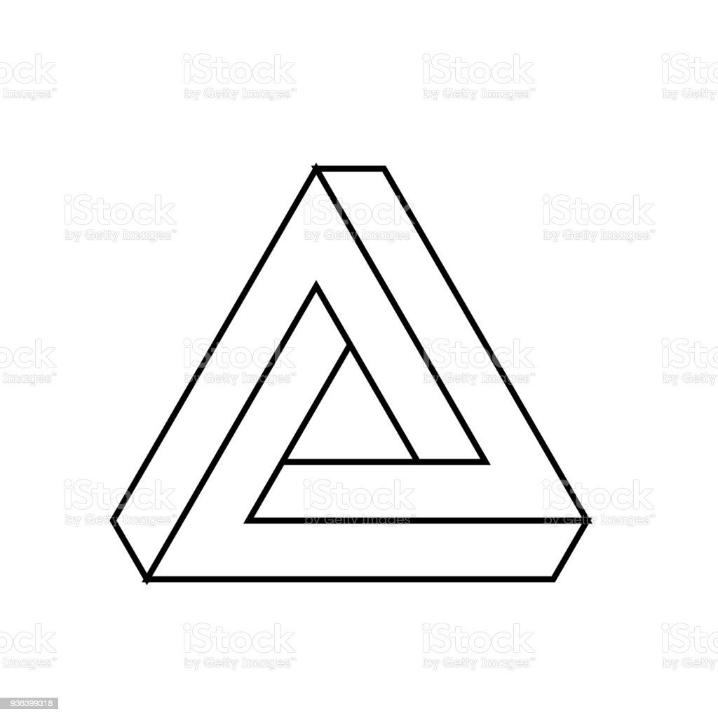 Penrose Triangle Icon Geometric 3d Object Optical Illusion Black ... for Triangle Objects Clipart Black And White  45ifm