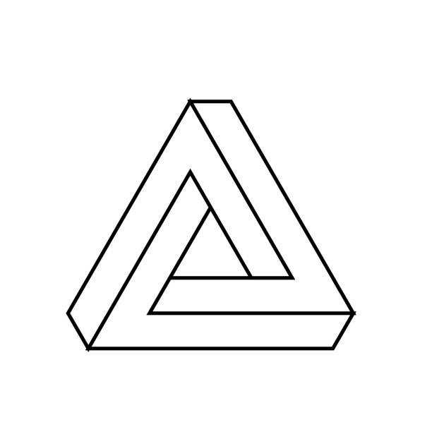 stockillustraties, clipart, cartoons en iconen met penrose driehoek pictogram. geometrische 3d-object optische illusie. zwarte omtrek vectorillustratie - triangel