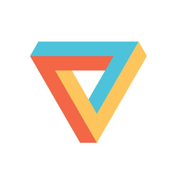 stockillustraties, clipart, cartoons en iconen met penrose driehoek pictogram in drie kleuren. geometrische 3d-object optische illusie. vectorillustratie - triangel
