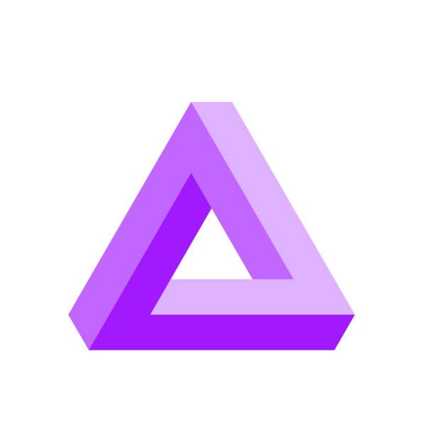 stockillustraties, clipart, cartoons en iconen met penrose driehoek pictogram in violet. geometrische 3d-object optische illusie. vectorillustratie - triangel