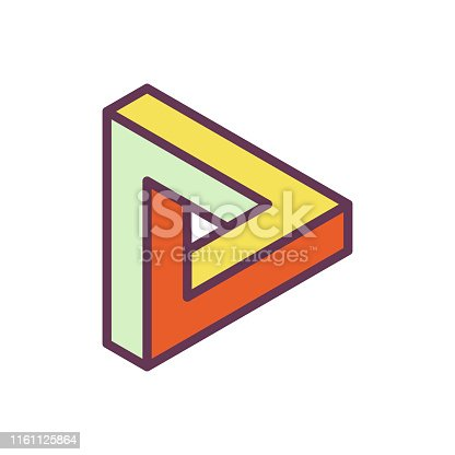 Vector illustration of the impossible geometry penrose triangle. Perfect for design projects, social media and presentations and marketing ideas and concepts.
