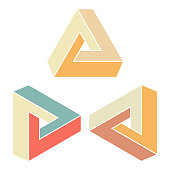 Vector illustration of a set of the impossible penrose triangles