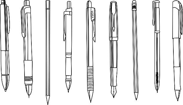 Pens and pencils in a row, contour illustration. vector art illustration