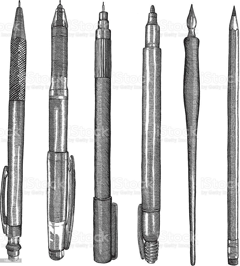 Pens and Pencils vector art illustration