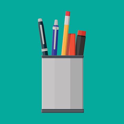Pens, pencil in holder.