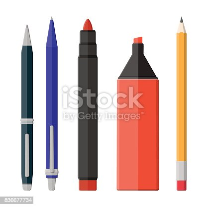 Pens, pencil, markers set isolated on white. Ballpoint pen, pencil with rubber eraser and felt pen. Office supply and stationery set. Vector illustration in flat style