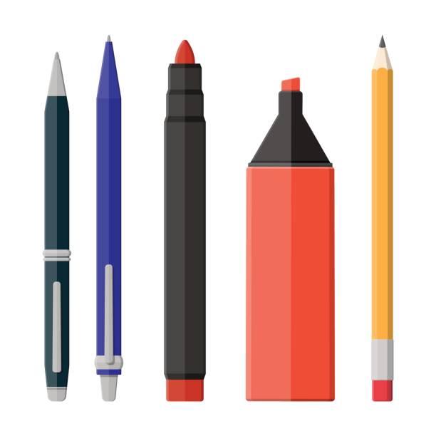 długopisy, ołówek, markery osadzone na białym - pióro przyrząd do pisania stock illustrations